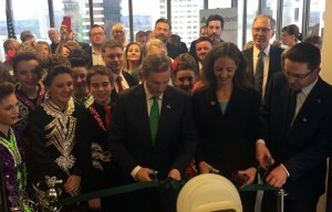Taoiseach Kenny with Austin City Councilwoman Kathie Tovo and Consul General Adrian Farrell officially opening the Irish Consulate in Austin, TX