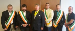 "Left to right: Dave Galvin, David Galvin, AOH National President James McKay, Justin Berry, William ""Jersey"" Eberhart."